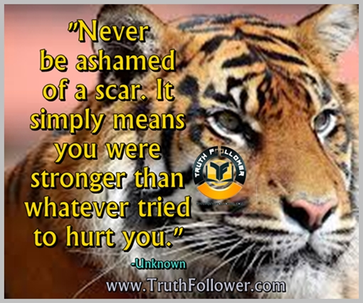 Never be ashamed of a scar - truthfollower quotes